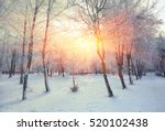 Beautiful Winter Sunset With...