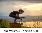 young girl doing yoga in the... | Shutterstock . vector #520105468