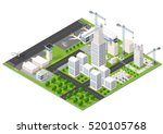 isometric 3d city airport with... | Shutterstock .eps vector #520105768