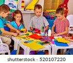children with teacher are... | Shutterstock . vector #520107220