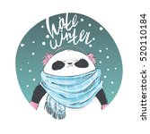 panda in blue scarf and pink... | Shutterstock .eps vector #520110184
