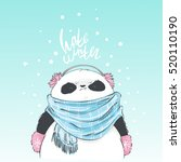 panda in blue scarf and pink... | Shutterstock .eps vector #520110190