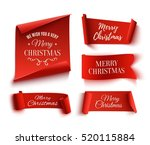 set of five red  merry... | Shutterstock . vector #520115884