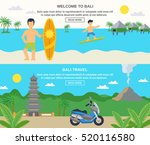 bali travel banners surfing and ... | Shutterstock . vector #520116580