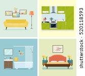 set of interior design room .... | Shutterstock .eps vector #520118593