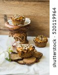 Small photo of gluten-free muffins with pumpkin, lemon, dates and sunflower seeds, healthy vegan baking, selective focus