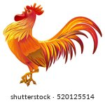 red golden rooster symbol of... | Shutterstock .eps vector #520125514