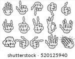 skeleton hand gestures set  ok  ... | Shutterstock .eps vector #520125940