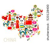 china map design. chinese... | Shutterstock .eps vector #520128400