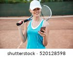 tennis woman with phone. girl... | Shutterstock . vector #520128598