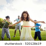 hula hoop enjoying cheerful... | Shutterstock . vector #520128619