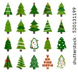 Stock vector different christmas tree set vector illustration can be used for greeting card invitation 520131199