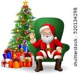 cartoon santa claus sitting on... | Shutterstock . vector #520134298
