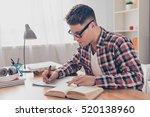 portrait of hardworking student ... | Shutterstock . vector #520138960