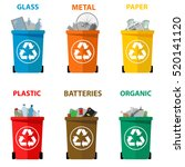 different colored recycle waste ...