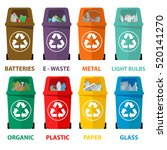 different colored recycle waste ...   Shutterstock .eps vector #520141270
