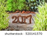 Wood Number 2017 With Plants O...