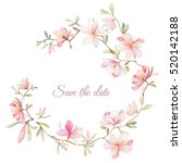 wreath of flowers in watercolor style with white background | Shutterstock vector #520142188