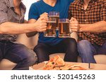 close up of three football fans ... | Shutterstock . vector #520145263