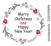winter christmas wreath with...   Shutterstock .eps vector #520145896