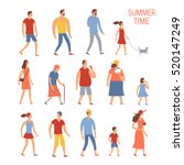 set of cartoon people in summer ... | Shutterstock .eps vector #520147249
