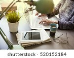 businesswoman working on... | Shutterstock . vector #520152184