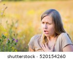 young woman outdoors with hard... | Shutterstock . vector #520154260