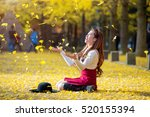 beautiful girl with yellow... | Shutterstock . vector #520155394