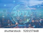2017 Smart city. double exposure of night cityscape with technology graphic design