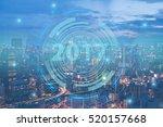 2017 smart city. double... | Shutterstock . vector #520157668