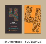 4 number logo business card | Shutterstock . vector #520160428