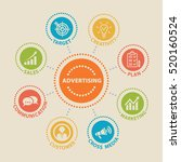 advertising. concept with icons ... | Shutterstock . vector #520160524