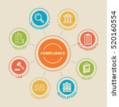 compliance. concept with icons... | Shutterstock . vector #520160554