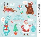 vector cheerful cute xmas card... | Shutterstock .eps vector #520166104