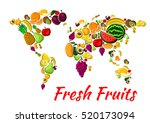 fruit world map with fresh... | Shutterstock .eps vector #520173094