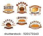 bakery shop badge set of bread  ... | Shutterstock .eps vector #520173163