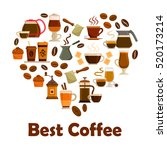 coffee heart symbol with icons... | Shutterstock .eps vector #520173214