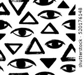brush drawn eyes and triangles...