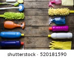 house cleaning product on wood... | Shutterstock . vector #520181590