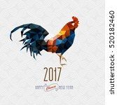 polygonal rooster on white... | Shutterstock .eps vector #520182460
