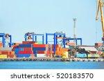 port cargo crane and container  ... | Shutterstock . vector #520183570