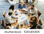 business people meeting data... | Shutterstock . vector #520185304