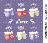 winter mittens set in soft... | Shutterstock .eps vector #520185640