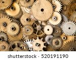vintage gears macro view. aged... | Shutterstock . vector #520191190