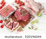 different types of meat. view... | Shutterstock . vector #520196044
