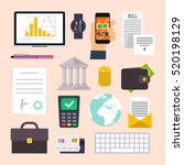 collection of business workflow ... | Shutterstock .eps vector #520198129