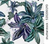 seamless background. lilies.... | Shutterstock . vector #520200193