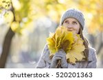 cheerful young woman enjoying... | Shutterstock . vector #520201363