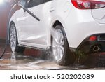 Stock photo washing a white car 520202089