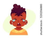 little boy face  crying facial... | Shutterstock .eps vector #520206880
